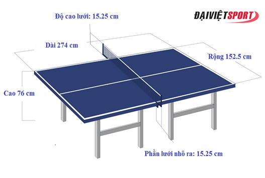 Kích thước bàn đánh bóng bàn